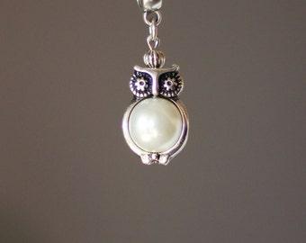 Silver Owl Pendant Necklace, Owl Pearl Pendant, Owl Necklace, Owl Pendant, Owl Jewelry, Bird Pendant, Cute Pendant,Silver Owl,Pearl Bird