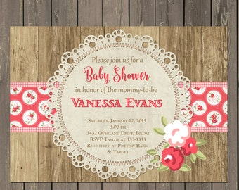 Rose Baby Shower Invitation, Rustic Wood and Lace Doily Baby Shower Invitation, Printable or Printed
