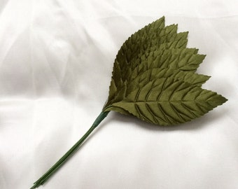 Satin  Wired Leaves x 12 in Moss Green for Bridal Millinery, Corsages, Bouquets and Scrapbooking
