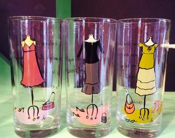 Set of 3 Fashionista Glasses with Saying on Back of Each Glass