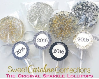 New Years Eve Lollipops, 2017, Gold and Black Lollipops, NYE, Candy Lollipops, Lollipops, Sweet Caroline Confections--Set of Six