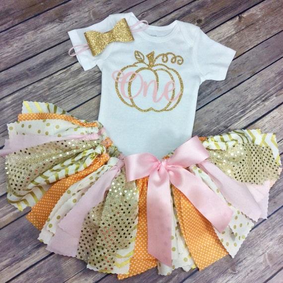 Orange Light Pink And Gold Glitter Pumpkin Patch Birthday
