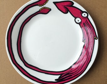 Colossal Squid Hand Painted Side Plate. Nature Humour
