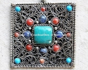 Tibetan Filigree Square Pendant with Turquoise, Coral & Lapis Inlay - TibetanBeadStore - Ethnic Nepal Tibetan Beads Pendants Jewelry - WM285