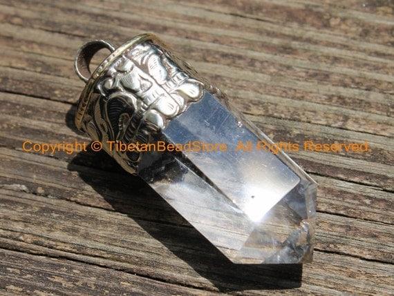 Basket Making Supplies North Carolina : Himalayan tibetan luxe crystal quartz point pendant with