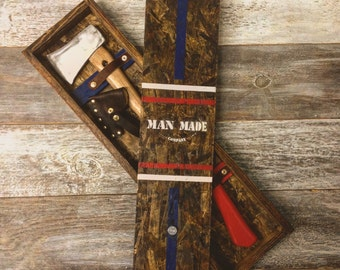Axe and Case Simple Axe and Axe Box Combo, Groomsmen, Father Husband Gift, Holidays, wedding