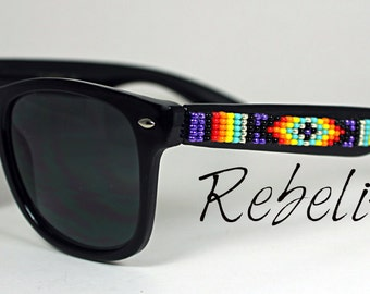 Beaded Sunglasses Purple Fire