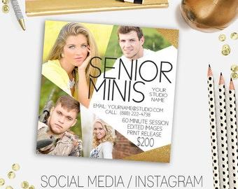 Social media marketing templates, instagram template, facebook template, marketing template, mini session template, senior instagram, senior