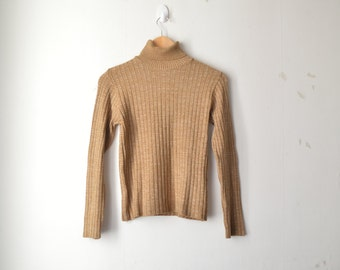 SALE // brown turtle neck minimal structured knit sweater 80s // S-M