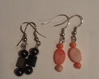 Earrings 2 pairs. Salmon pink, gray