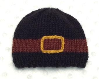 Pilgrim Baby Hat - Baby Thanksgiving Hat - Baby Pilgrim Beanie - Pilgrim Hat - Pilgrim Beanie - Newborn Thanksgiving Photoprop