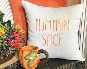 Pumpkin Spice Pillow, Pumpkin Pillow, Farmhouse Style Pillow, Modern Farmhouse Pillow, Rae Dunn inspired Pillow, Pumpkin Spice, Fall pillow