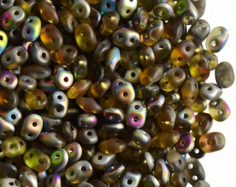 20 gr Czech Two-Hole Seed Beads SuperDuo 2.5x5mm TOPAZ VITRAIL MAT (rk1193)
