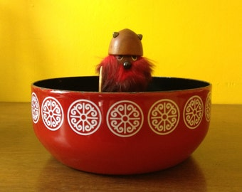 Vintage Asta Red Enamel Bowl