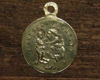 antique bronze religious medal pendant Saint Anthony of Padua