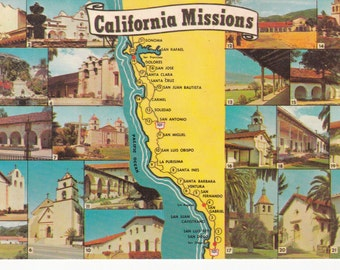 Set of 3 California Missions Vintage Postcards - Unposted - Mission San Luis Rey - Mission Dolores - Spanish Missions