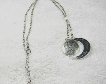 30% discount/Fashion Necklace/i love you to the moon and back/ silver 22 inches long/ cheap, discount/ affordable/