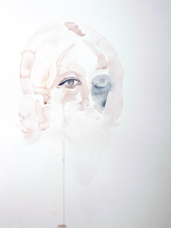 sad girl . original watercolor painting