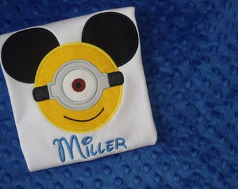 Minion-- Mickey Mouse Ears Appliquéd Shirts or Onesies-- Family Vacation Shirts