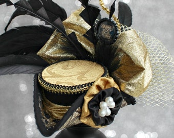 New Years Eve Hat , Holiday Party Hat , Black and Gold Tricorn Hat, New Year's Eve Mini Hat, New Years Fascinator, New Years Decoration