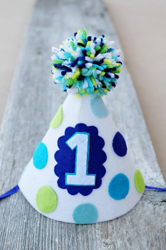 Boy Girl Twins 1st Birthday Party Hats Polkadot By
