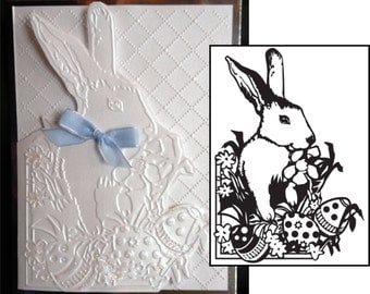 EASTER Bunny embossing folder Darice 1218-43 A2 for scrapbooking & cardmaking - Cuttlebug Compatible folders