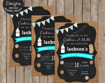 Cookies & Milk Birthday Printable Invitation - Chalkboard Milk and Cookies Birthday Invitation Printable - Cookie Exchange - DIY Printable