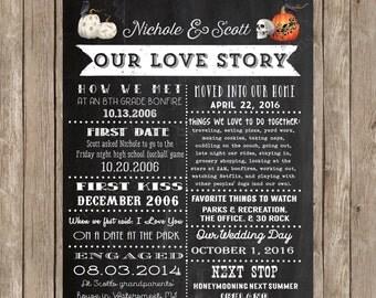 Halloween Wedding - Halloween Love Story -  Halloween Wedding Photo Backdrop - Vintage Halloween Photo Backdrop Printable - DIY Printable