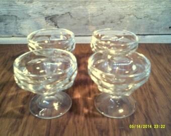 Four Vintage Jeanette Pressed Glass Dessert Goblets, Sherbert Goblet, Ice Cream Goblet, Dessert Stemware