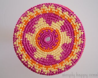 """Cotton Crochet Pocket Flying Disk Toy in Bright Pink/Yellow/Orange--7.5"""""""