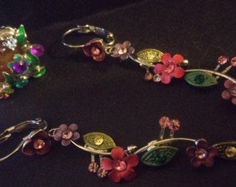 Colorful flower earring ring set