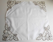 1800s French Bronze Passementerie Wedding Handkerchief Roses and Leaves