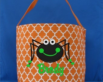Quatrefoil Embroidered Trick or Treat Bucket - Halloween Tote - Personalized Halloween Bag - Halloween Candy Bucket - Spider Bag - Ghost Bag