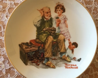 "Norman Rockwell's ""The Cobbler"" Collectors Plate 1984 - Free Shipping"