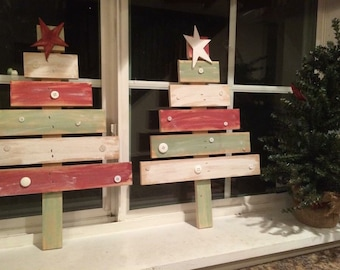 1 set of mini wooden christmas trees reclaimed wood holiday decor