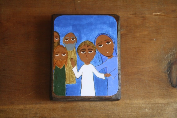 """2.5"""" X 3.5"""" The Finding in the Temple Byzantine Folk style icon on wood by DL Sayles"""