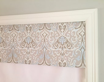 "Straight Valance.  Magnolia Home Fashions Winchester Ikat Dusk.  Custom Sizing Available Up To 54"" Wide."
