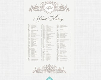 Printable Seating Chart- Seating Chart, Wedding Seating, Reception Template Seating Chart