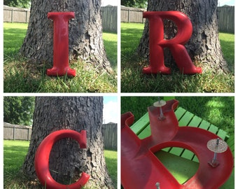 15 Inch Tall RED Reclaimed Rigid Plastic Sign Letter R T I U E C A FREE SHIPPING