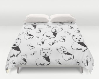 West Highland Terrier Duvet Cover, Westie Bedding, Monochrome Bedding, Westie Art Print, King Duvet Cover, Queen Bedding, Full Duvet Cover
