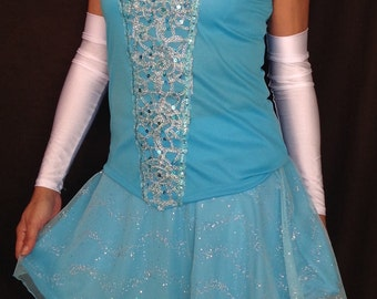 NEW CINDERELLA complete running outfit (top, skirt with attached compression shorts and white arm sleeves)