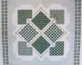 Garden Sampler – Counted Blackwork Chart. Geometric design can be made into a cushion.  Blackwork design in black or coloured thread.