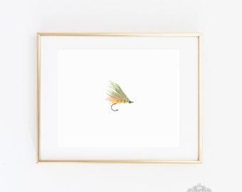 Fly Fishing Art, Fishing illustration, nursery art, fish illustration, gift for boyfriend, watercolor print, Fathers Day, wall art, Boy Gift