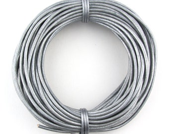 Gray Metallic Round Leather Cord 1mm, 100 meters (109 yards)