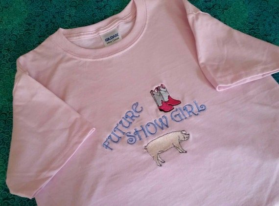 Embroidered Hog Shower t-shirt - Future show girl with boots and hog - custom made hog shower t-shirt