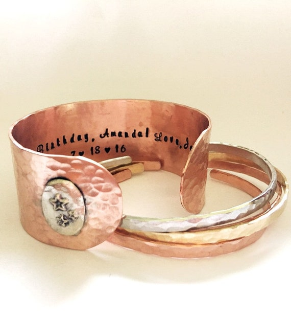 Custom Copper Cuff Bracelet | Birthday Gift | Personalized Bracelet| Inspirational | Embellished Cuff | Gift For Her | Stars
