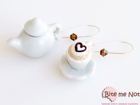 Polymer Clay Jewelry Cappuccino Pottery Set Earrings, Cappuccino Earrings, Mini Food, Coffee Earrings, Cappuccino Jewelry, Miniature Food