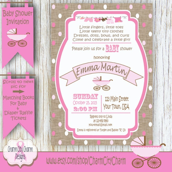 Girl Baby Shower Poems: Baby Buggy Baby Shower Poem Invitation With Burlap Pink Polka