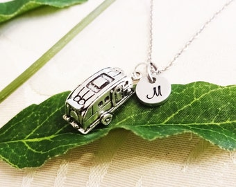 3D CAMPER NECKLACE in silver tone  - travel trailer necklace - personalized with initial charm - choice of chains