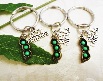 """3 PEAS in a POD keychains with """"best friends"""" - bff keyrings - gift for 3 best friends green peas - one flat rate shipping in my shop :)"""